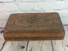 ANTIQUE / VINTAGE ANGLO INDIAN CARVED WOODEN BOX, FREE UK DELIVERY