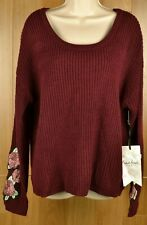 Crave Fame Almost Famous Red Wine Sweater Embroidered Floral Jrs Size Xl Nwt