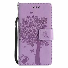 PU Leather Wallet Case Flip Cover Card Slot for Phone Light Purple Cat Tree