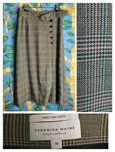 Veronika Maine 10 Midi Skirt A-line Tweed Check Houndstooth Black Brown W2020