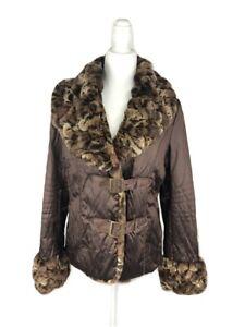 Women's Donna Salyers' Fabulous Furs Brown Coat with Faux Fur Trim Size M