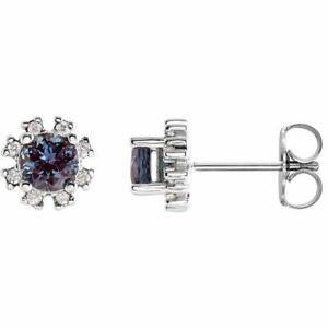 Chatham Created Alexandrite & 1/2 CTW Diamond Earrings In 14K White Gold