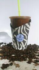 Snug as a mug.Handmade Coffee Cozy.Coffee Sleeve.Reusable. Small Grey Zebra Gray