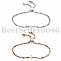 Damen Edelstahl seitlich Kreuz poliert verstellbar Armband Link Chain Armreif