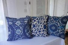 Hamptons Blue Floral Linen Blend Cushion Cover 45