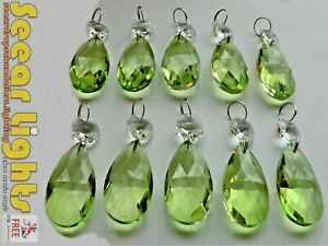 10 SAGE GREEN CHANDELIER OVAL GLASS CRYSTALS DROPS PRISMS DROPLETS BEADS RETRO