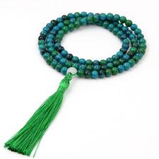 Green Blue Jade Tibet Buddhist 108 Prayer Beads Mala Necklace