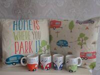 Caravan cushions Home is where you park it, Caravan mugs all colours Motorhome