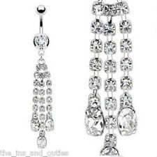 Triple Chain Dangle Clear Gem Belly Ring Navel (w460)