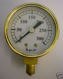 "2"" dia Pressure gauge 0-300 PSI Live steam"