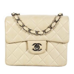 Chanel - Mini Quilted Lambskin Crossbody Bag - Cream Leather CC Turnlock Flap