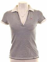 RALPH LAUREN Womens Polo Shirt Size 8 Small Navy Blue Striped Cotton