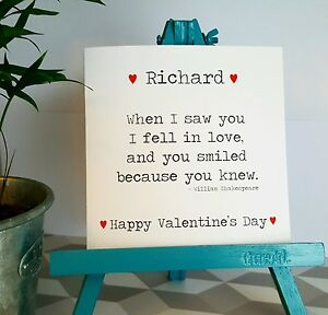 PERSONALISED Handmade When I saw you I fell in Love with you Valentines Day Card