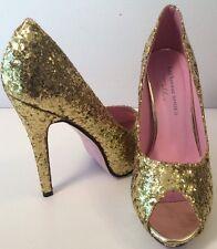 "Leg Avenue Shoes Size 6 Gold Sparkle Sexy 4"" HIGH HEEL Peep Toe EUC Stiletto"