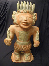 """Ceramic Statue of Mexican Corn God (Discounted for Damage) 20+"""" Tall; 25+ Years"""
