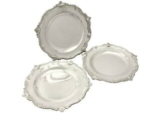 Antique Set of 3 Sterling Silver Dinner Plates/Second Course Dishes