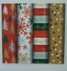 4 Rolls x 8M Traditional Christmas Gift Wrapping Paper 29592 Contemporary