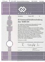 Westf. Hypothekenbank Dortmund KO 1987 Bank DM Anleihe Westhyp Fernsehturm NRW