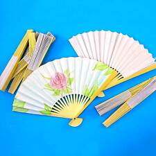 PAPER FANS TO DECORATE (Pack of 6)  25cm : wood sides