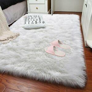 White Polar Bear Faux Fur Rug 4'x5'