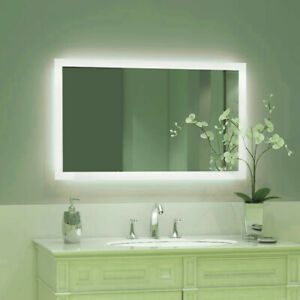 LED Bathroom Wall Mirror with Lights Touch Control Switch Demister Pad Anti-fog