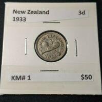 New Zealand 1933 Threepence 3d KM# 1   #443
