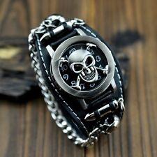 Cool Men's Punk Biker Skull Chain Round Leather Bracelet Quartz Wrist watch