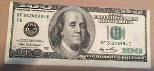 2006 US America $100 Bill Banknote Error Mistake Cut Print Shifted Up