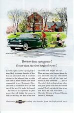 1950s Vintage print ad Car Chevrolet Bel Air Sport Coupe Gayer than Flowers ad