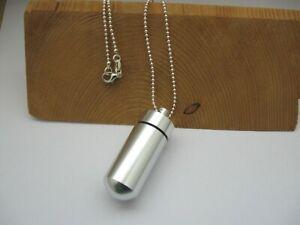 Halskette, 925 Silber pl. + Anhänger Notfallkapsel, SOS, Alu, Asche, Urne ⭐⭐⭐⭐⭐
