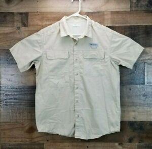 Columbia Mens Medium Khaki Outdoor Vented Shirt Fishing Short Sleeve Rugged EUC