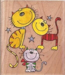 Smiling Kitty CATS Wood Mount Rubber Stamp Unique Penny Black NEW 2.5 Inch