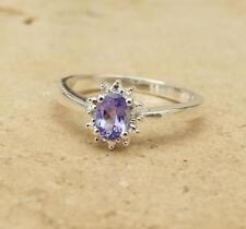 Tanzanite Halo Sterling Silver Fine Rings