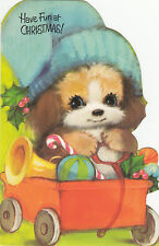 Vintage Retro Kitsch 1970's Merry Christmas Greeting Card ~ Cute Puppy Dog