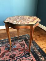 Antique Terrazzo Marble Solid Wood Inlay Side End Table Night Plant Stand