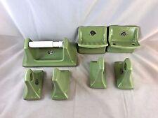 VIntage mid century green SET ceramic SOAP DISH, TOOTHBRUSH, TOILET PAPER, TOWEL