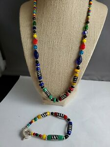 """22"""" beautiful colorful glass beaded necklace and bracelet"""