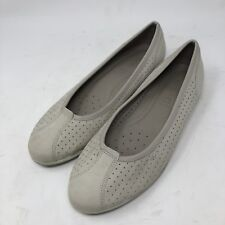 Ecco Ballerina Flats Gray Nubuck Women's Shoes Size 39 US 8-8.5 Made In Portugal
