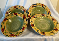Set of 4 Pier 1 Stoneware Elizabeth Rimmed Soup Salad Pasta Bowls 9 3/4 Inches