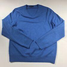 Express Mens Extra Fine Merino Wool V Neck Pullover Sweater Light Blue Sz Medium