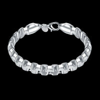 18K White Gold Plated Box Chain Bracelet FAST FREE SHIPPING