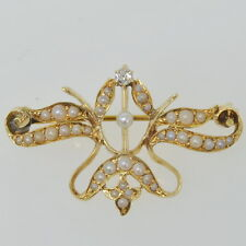 Antique Victorian Edwardian 14k Yellow Gold Seed Pearl Diamond Estate Pin Brooch
