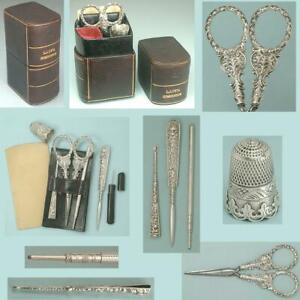 Antique Leather Lady's Companion Sewing Set w/ Sterling Silver Tools * C1850