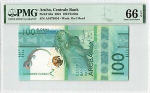 Aruba 100 Florin Gulden 2019 Antilles Pick 24a PMG Gem Uncirculated 66 EPQ