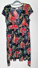 Leona Edmiston floral print v neck cap sleeve dress attached belt Sz 14 EUC