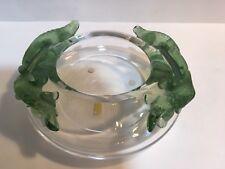 "RARE Lalique Crystal ""Bamako"" Green Salamander Serpent Bowl/Coupe MINT w/Box!"