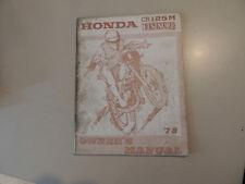 HONDA CR 125 M Elsinore Owner`s Service repair shop manual 1978