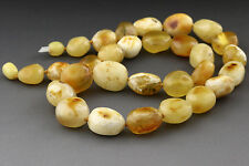 Genuine BALTIC AMBER Necklace WHITE Butter Large Beads 39.3g n151125-1