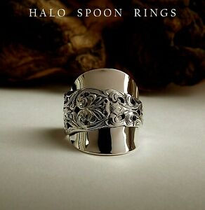 NORWEGIAN SOLID SILVER SPOON RING VALDRES PATTERN 1910 PERFECT CHRISTMAS GIFT