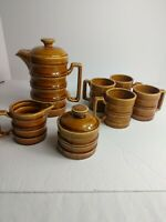 Vintage 1940s Coffee/Chocolate Pot With 4 Cups Creamer And Sugar Dish - 7pc set